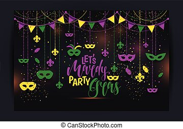 Mardi Gras colored frame with a mask and fleur-de-lis, isolated on black background. Vector illustration.