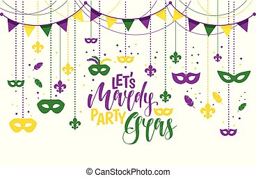 Mardi Gras colored frame with a mask and fleur-de-lis, isolated on white background. Vector illustration.