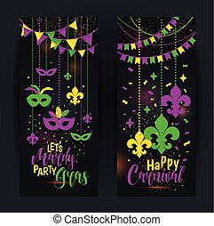 Mardi Gras colored vertical banners set with a mask and fleur-de-lis, isolated on black background. Vector illustration.