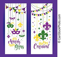 Mardi Gras colored vertical banners set with a mask and fleur-de-lis, isolated on white background. Vector illustration.