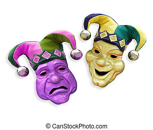 Mardi Gras comedy tragedy masks with jester hats on white background