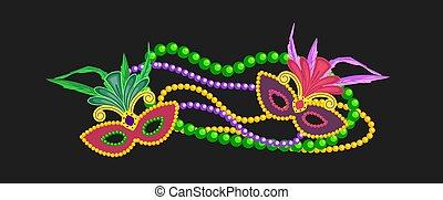 Mardi Gras design element, colorful symbols