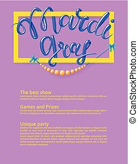 Mardi Gras, Fat Tuesday, vector lettering illustration. Design template of poster or banner for party or carnival.