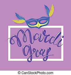 Mardi Gras, Fat Tuesday, vector lettering illustration in 3d style. Design template of poster or banner for party or carnival.
