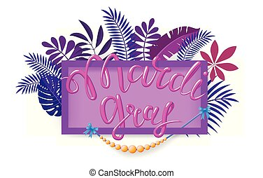 Mardi Gras, Fat Tuesday, vector lettering illustration in 3d style with rectangular frame and beads. Design template of poster or banner for party or carnival.