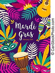 Mardi Gras flyer, poster or party invitation template decorated by exotic palm leaves, guitar, maracas and masks. Flat vector illustration for holiday celebration, masquerade or carnival announcement.
