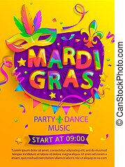 Mardi gras flyer with inviting for carnival party.