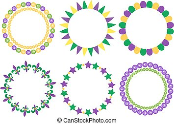 Mardi Gras frame set. Cute round border with space for text. Isolated on white background. Vector illustration.