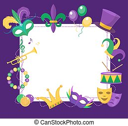 Mardi Gras frame template with space for text. Carnival poster, flyer, invitation. Party, parade background. Vector illustration