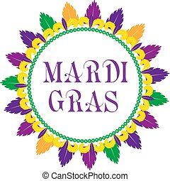 Mardi Gras frame template with space for text. Isolated on white background. Vector illustration.