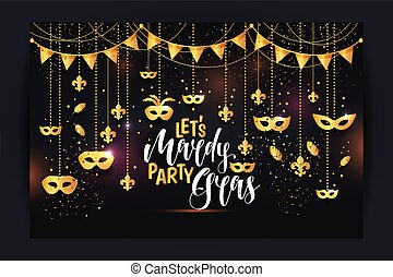 Mardi Gras frame with a gold mask and fleur-de-lis, isolated on black background. Vector illustration.