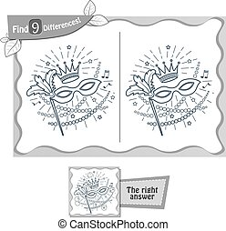 mardi gras game 9 differences, coloring book