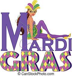 Mardi Gras Girl Design - Beautiful girl sitting on Mardi...