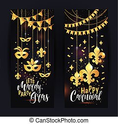 Mardi Gras gold vertical banners set with a mask and fleur-de-lis, isolated on black background. Vector illustration.
