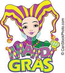 Mardi Gras harlequin design - Mardi Gras harlequin lady...