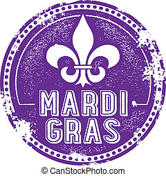 Vintage style Mardi Gras celebration rubber stamp imprint.