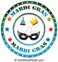Mardi Gras-label - Label with text Mardi Gras,vector...