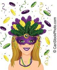 Mardi gras lady confetti - Mardi Gras background
