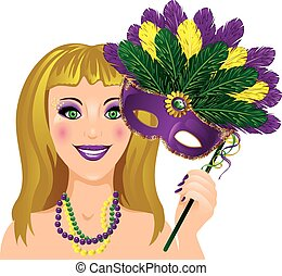 Mardi Gras Lady - Lady with a feathered mask for Mardi Gras