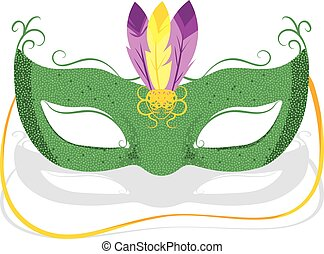 Mardi Gras Mask - Illustration of Green Mardi Gras Mask with...