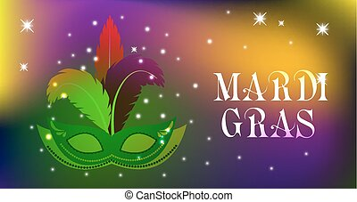 Mardi Gras mask, colorful poster, template, flyer. Vector illustration.