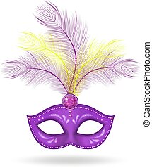 Mardi Gras Mask icon, realistic 3d style. Mask with feathers isolated on white background. Fat Tuesday concept. Vector illustration.