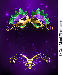 Mardi Gras mask of bright feathers - Mardi Gras gold mask of...