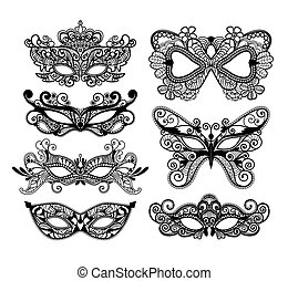 Mardi Gras mask of lace collection set.