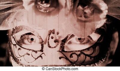 Mardi gras Mask old footage effect - Beautiful woman in...