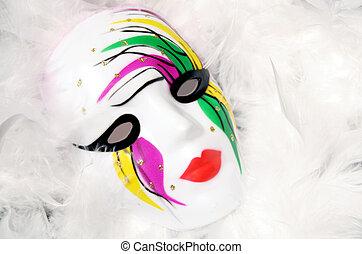 Mardi Gras Mask - Painted Mardi Gras mask on white feathers