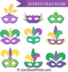 Mardi Gras mask set, design element, flat style. collection masks with feathers, isolated on white background. Vector illustration, clip art