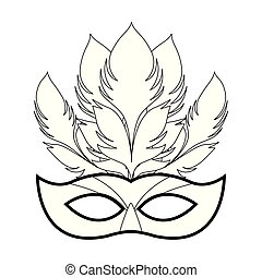 Mardi gras mask with feathers icon over white background