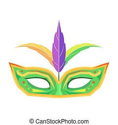 Mardi Gras Mask with Feathers Isolated Vector