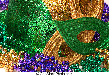 Mardi Gras Masks, Hat , and Beads - Closeup of Mardi Gras...