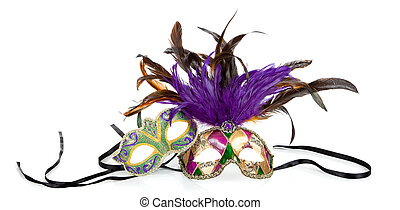 Mardi gras masks on a white background - Purple, green and...