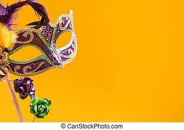 mardi gras, masque, fond, jaune