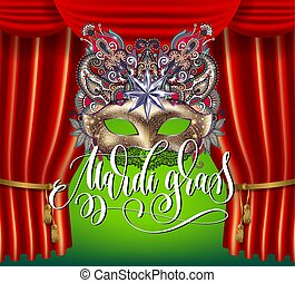 mardi gras masquerade holiday poster with golden mask