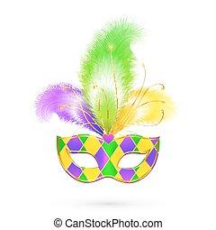 mardi gras, maszk, hagyományos, befest, vektor