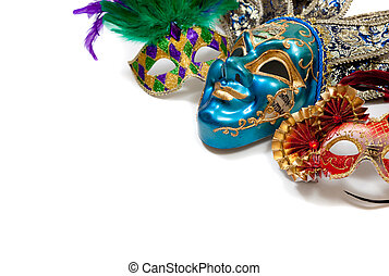 Mardi Gras or carnival mask on white - A group of mardi gras...