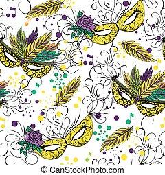 Mardi Gras or Shrove Tuesday seamless pattern - Mardi Gras...