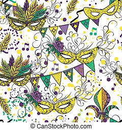 Mardi Gras or Shrove Tuesday seamless pattern - Mardi Gras...