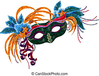 Mardi Gras Orleans Mask - A colorful illustration of a Mardi...