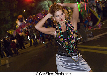 Mardi Gras Parade  - woman at a Mardi Gras parade