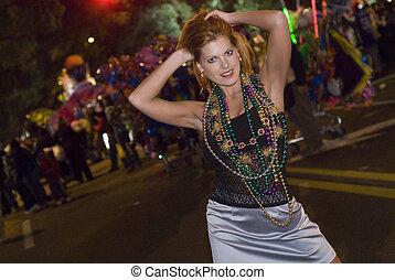 Mardi Gras Parade  - woman at a Mardi Gras parade