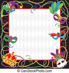 Mardi Gras Party Invitation - Colorful Mardi gras party...