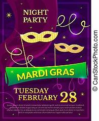 Mardi Gras party poster vector illustration