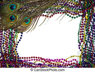 Mardi Gras Peacock Feathers - Colorful peacock feathers on a...