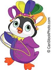 Mardi Gras Penguin - Illustration of Penguin wearing Mardi...