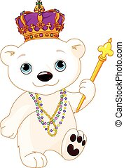 Illustration of polar bear wearing Mardi Gras costume