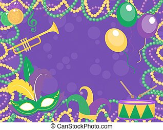 Mardi Gras poster with mask, beads, trumpet, drum, fleur de...